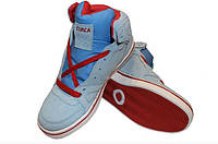 Кроссовки для хип-хопа (скейтера) Кожа CIRCA (р-р 36-41) (верх-кожа,подошва-TPU, серый-синий-красный)