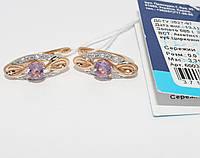 Золотые серьги с аметистом 60034-Пам