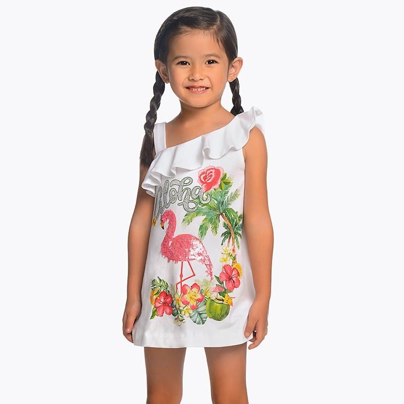 Платье прямое, хлопковое, на одно плечо, аппликация из пайеток