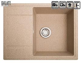 Кухонная мойка с крылом гранитная 65 *50 см Galati Jorum 65 Piesok (301)