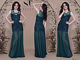 Женское длинное комбинированное вечернее платье 42,44,46р (7расцв), фото 10
