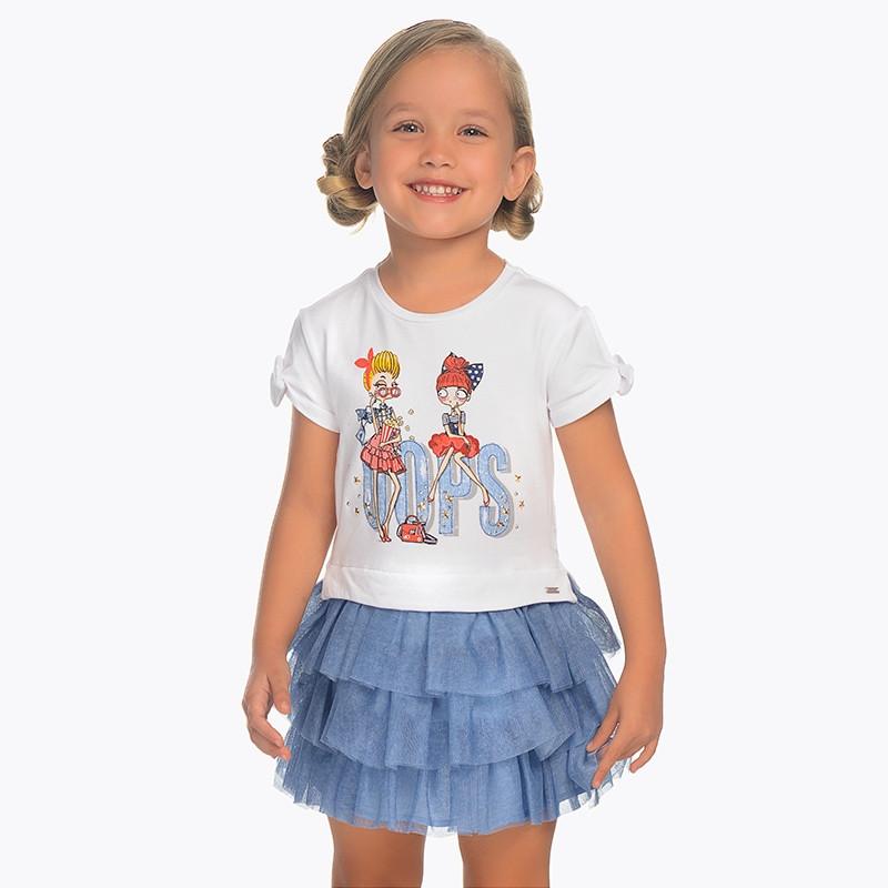 Платье с рисунком и трёхъярусной фатиновой юбкой