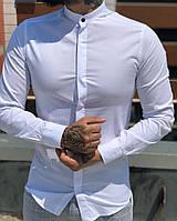 a2bd33175e0ec35 Мужская рубашка белая Slim Fit с воротником стойкой. Люкс качество