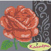 """Схема для вышивки """"Роза с узором (на черном фоне)"""""""