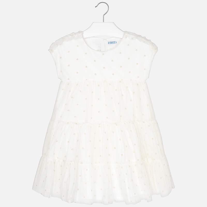 Платье с фатином в светлый горошек