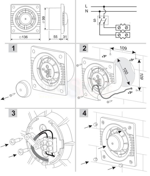 Габаритные размеры, монтаж и схема подключения осевого вытяжного настенного компактного вентилятора Колибри 100 (COLIBRI 100) ― для кухни, в ванную, в туалет, для офиса ― который Вы можете купить недорого в интернет-магазине вентиляции ventsmart.com.ua