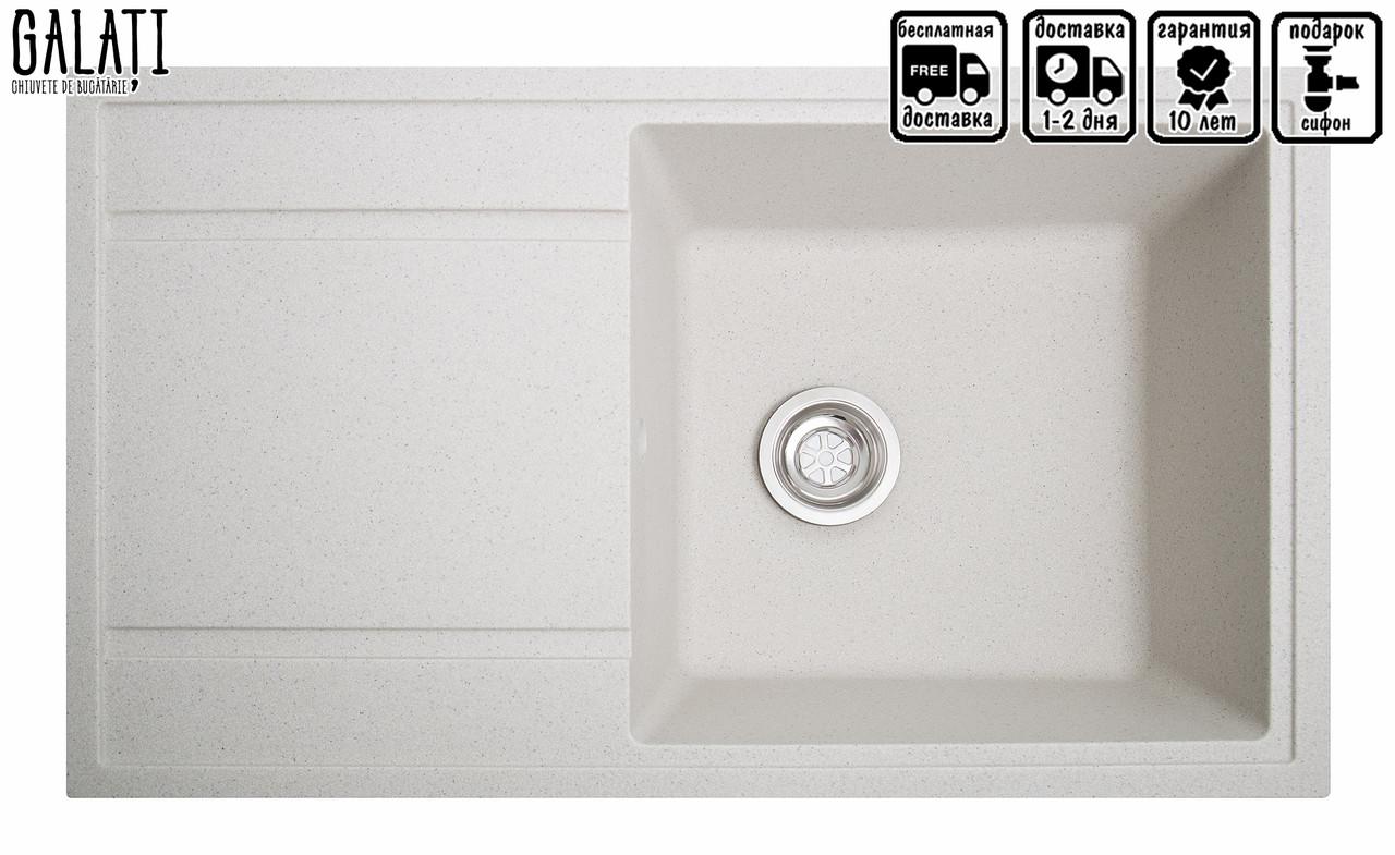 Белая мойка для кухни с вкраплениями 86 см Galati Jorum 86 Biela (101)