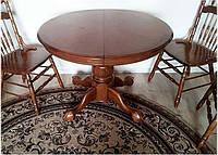 Стол круглый раскладной NNDT-4260 STC темный орех, столешница инкрустирована шпоном, фото 1