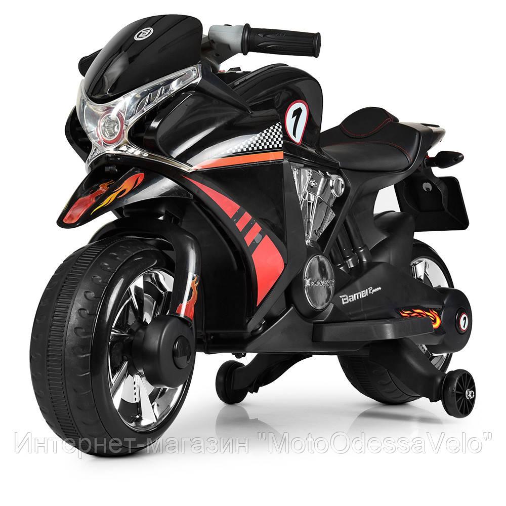 Детский электромотоцикл BAMBI черный