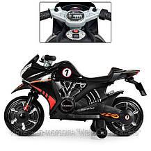 Детский электромотоцикл BAMBI черный, фото 3