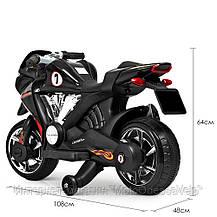 Детский электромотоцикл BAMBI черный, фото 2