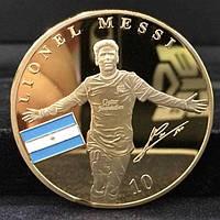 Позолоченная сувенирная монета Месси