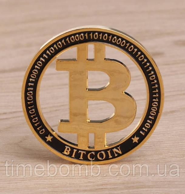 Позолоченная сувенирная монета ''Bitcoin 2018''