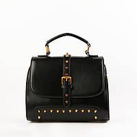 Женская сумка кожаная объемная маленькая черная, фото 1