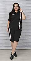 Трикотажный спортивный костюм с шортами и капюшоном батал черный