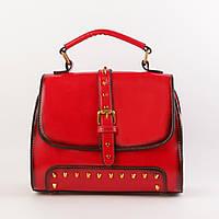 Стильная женская сумка красная кожаная объемная