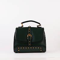 Жіноча маленька шкіряна сумочка об'ємна зелена, фото 1