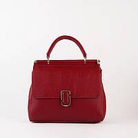 Кожаная женская сумка красная среднего размера, фото 1
