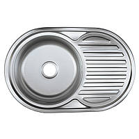 Мойка врезная овальная кухонная 7750 см Platinum декорированная 0,8 мм глубина 18 см
