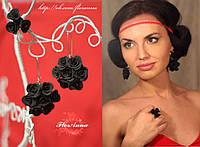 """""""Элегантный чёрный"""" стильный комплект украшений для девушки с цветами из полимерной глины."""
