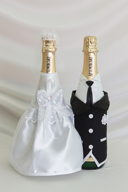 Свадебный набор для декора шампанского Bonita Жених и невеста (003)