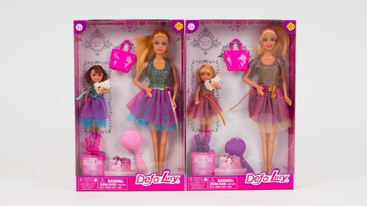 Кукла DEFA с дочкой. В комплекте аксессуары и мишка. 2 вида