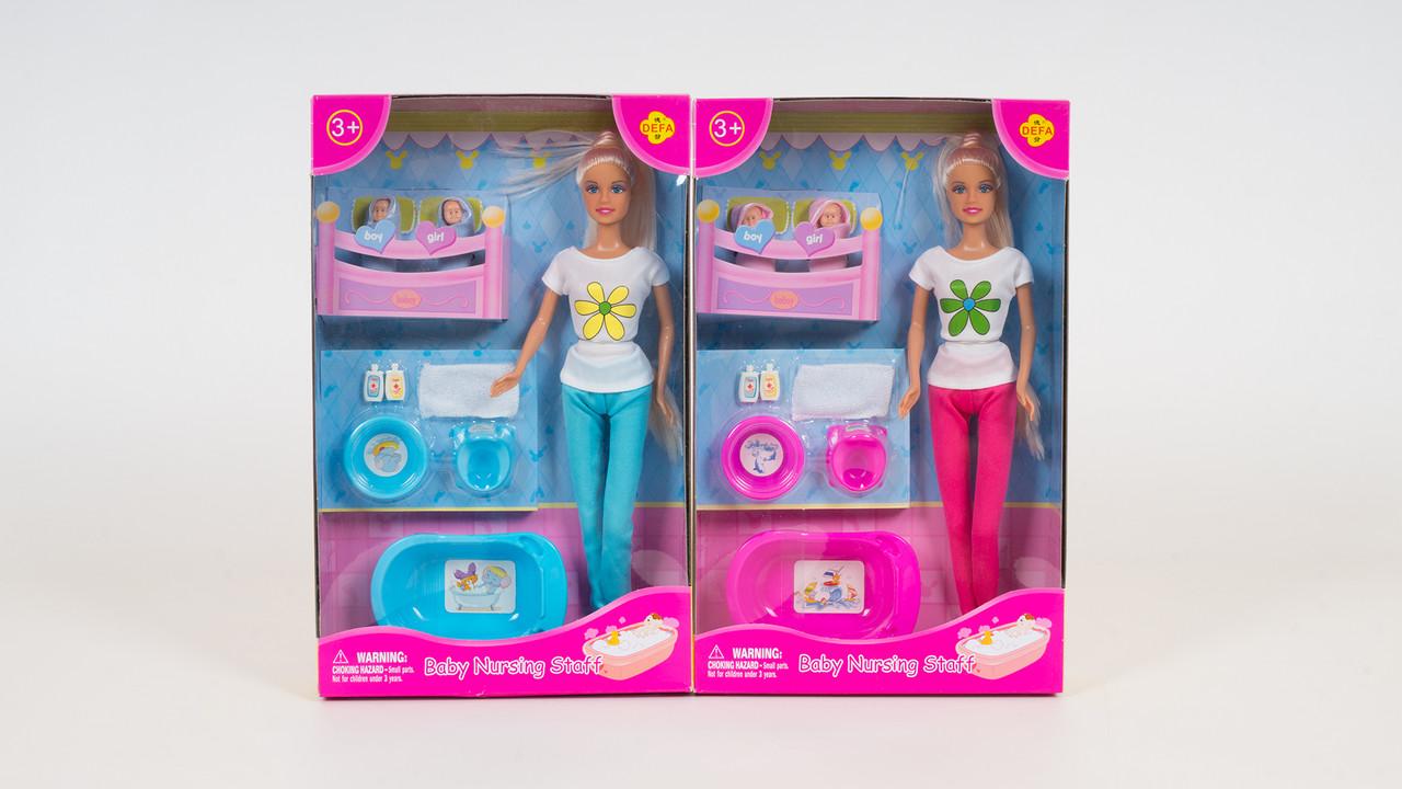 Кукла DEFA с детьми. В комплекте (2 пупса: ванночка: горшок: миска). 2 цвета