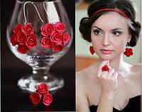 """""""Красные розы"""" серьги+кольцо. Яркий комплект украшений для девушки  из полимерной глины., фото 1"""