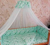 """Детский постельный набор в кроватку 8 предметов """"Звезды"""" мятный"""