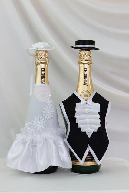Свадебный набор для декора шампанского Bonita Жених и невеста (005)
