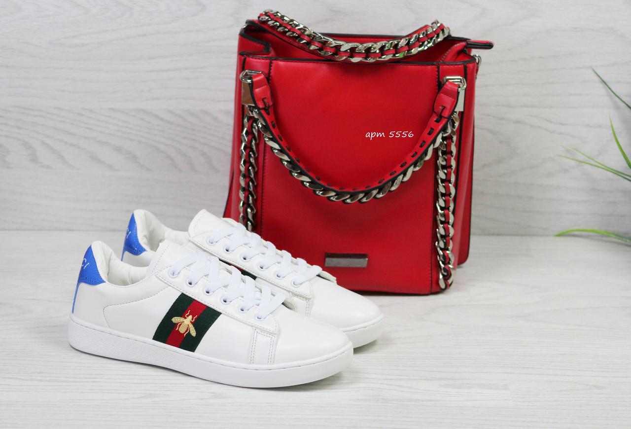 21c162ec2 Женские кроссовки в стиле GUCCI, белые , код товара: AS - 5556, цена ...