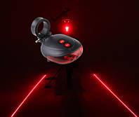 Светодиодная фара-мигалка с двумя лазерными подсветками,велосипедный фонарь с лазером, фото 1