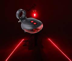 Світлодіодна фара-мигалка з двома лазернами підсвічуваннями,велосипедний ліхтар з лазером