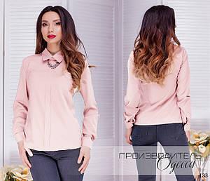 Рубашка-блуза без пуговиц с брошью софт 42,44,46,48