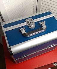 Кейс для мастера красоты, синий в металле, фото 2