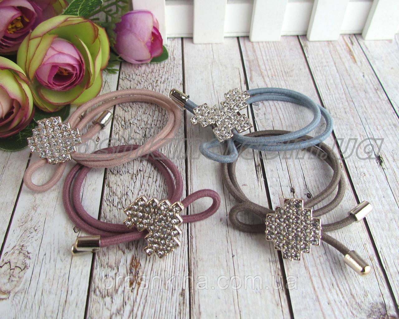Резинки для волос с цветные с украшением в стразах 12 шт/уп.