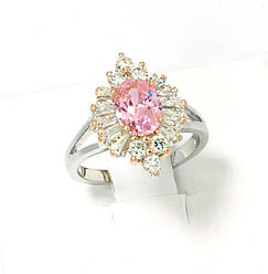 Кольцо Ромб с розовым цирконием, родий+позолота, р.17