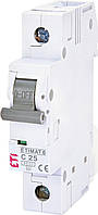 Автоматический выключатель ETIMAT 6 1p C 25А (6 kA) ETI