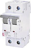 Автоматический выключатель ETIMAT 6 2p C 25А (6 kA) ETI