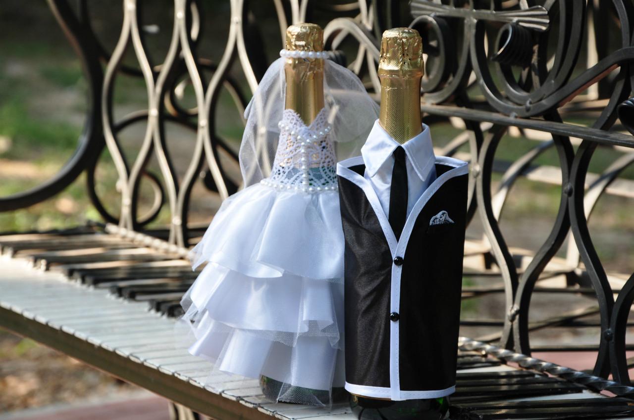 Свадебный набор для декора шампанского Bonita Жених и невеста (009) белый