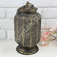 """Светильник/подсвечник в стиле """"Мушараби""""  маленький, металл, 18×32 см"""