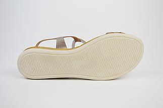 Босоножки кожаные золотистые Presso 4009, фото 3