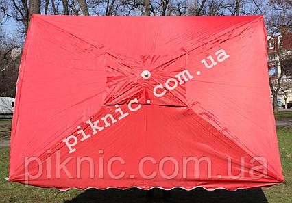 Прочный зонт торговый 2х3м с клапаном Прочный зонт для торговли на улице садовый Красный 351, фото 2