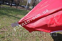 Торговый зонт 3х3м квадратный Серебро+Клапан Прочный зонт для торговли на улице Красный 351, фото 2