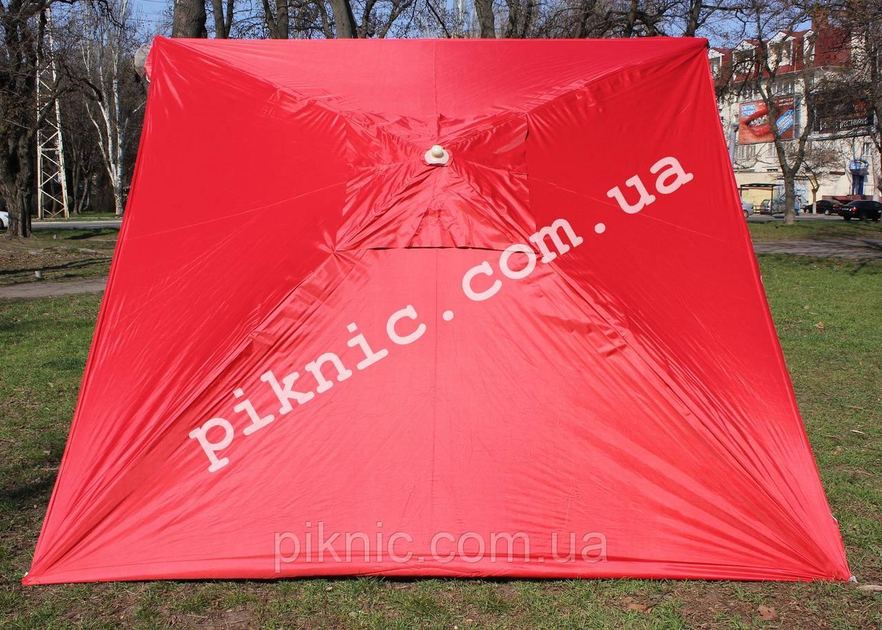 Торговый зонт 3х3м квадратный Серебро+Клапан Прочный зонт для торговли на улице Красный 351