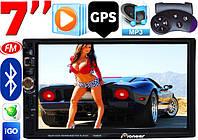 Автомагнитола Pioneer 7026 GPS, 2DIN, BT, SD, USB,AUX,Fm+ПУЛЬТ 7023 на РУЛЬ