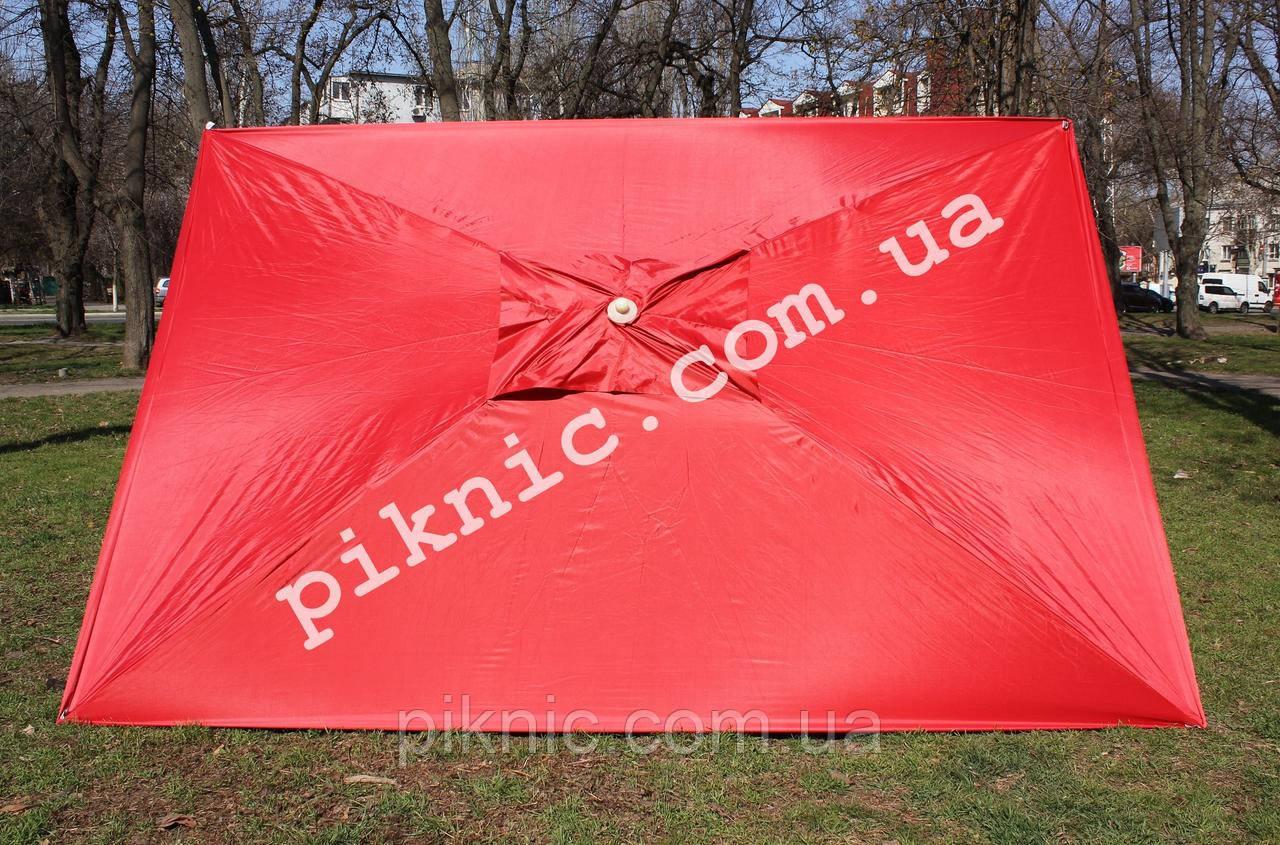 Зонт торговый 2,5х3,5м (Серебро+Клапан). Мощный зонт для торговли на улице, садовый Красный!