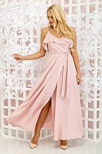Платье в пол Милена однотон пудра