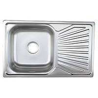 Мойка кухонная врезная 7848 см Platinum полировка 0,8 мм глубина 18 см