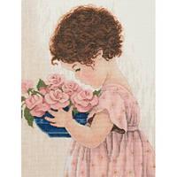 """Набор для вышивания крестом """"Девочка с цветами"""""""